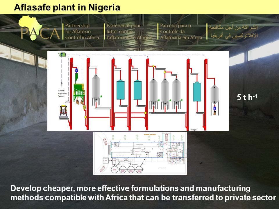 Aflasafe plant in Nigeria Develop cheaper, more effective formulations and manufacturing methods compatible with Africa that can be transferred to pri