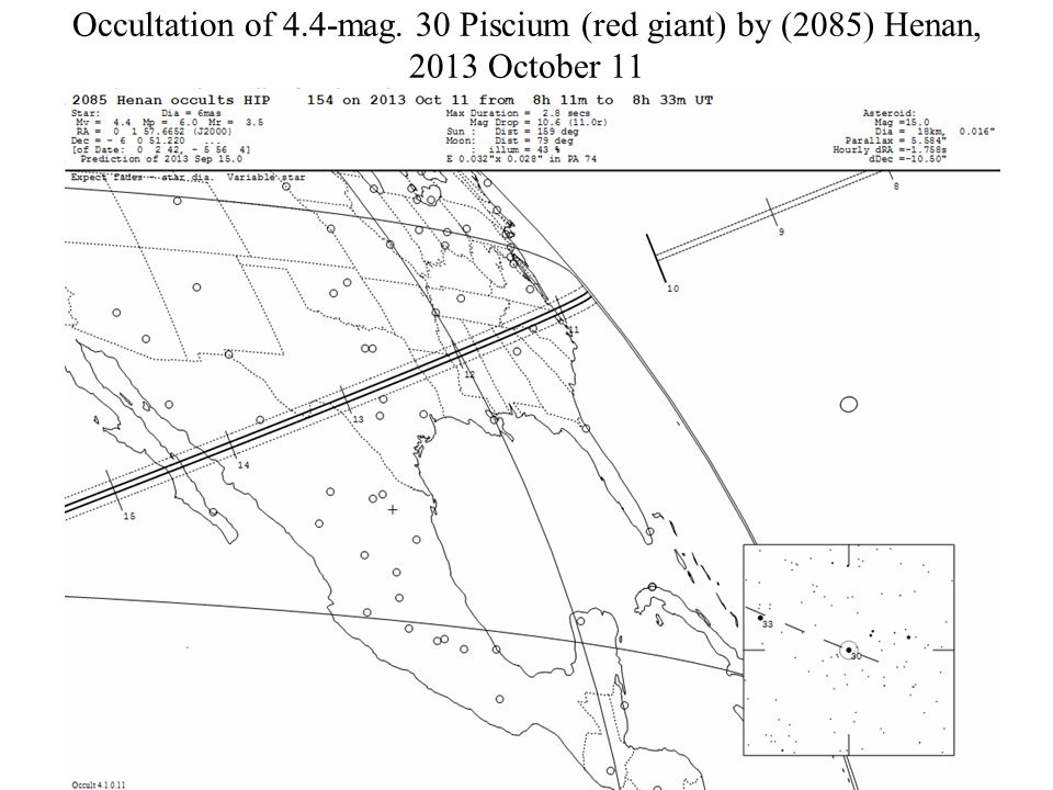 Occultation of 4.4-mag. 30 Piscium (red giant) by (2085) Henan, 2013 October 11