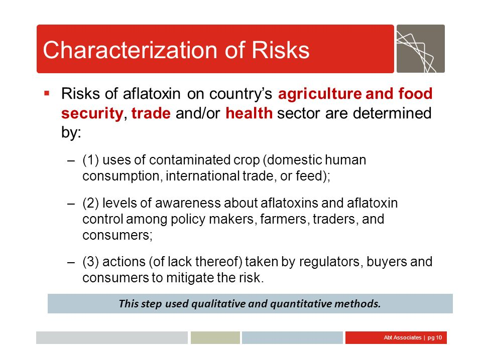 Abt Associates | pg 10 Characterization of Risks Risks of aflatoxin on countrys agriculture and food security, trade and/or health sector are determin