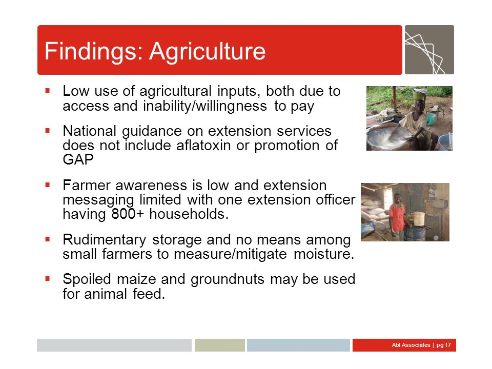 Abt Associates | pg 17 Findings: Agriculture Low use of agricultural inputs, both due to access and inability/willingness to pay National guidance on