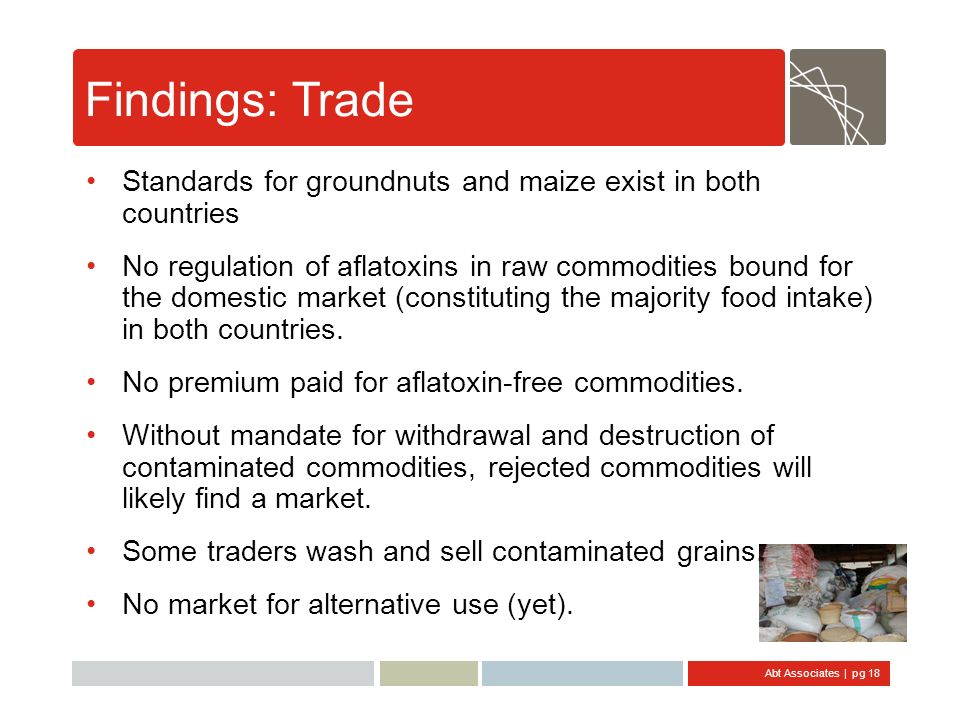 Abt Associates | pg 18 Findings: Trade Standards for groundnuts and maize exist in both countries No regulation of aflatoxins in raw commodities bound