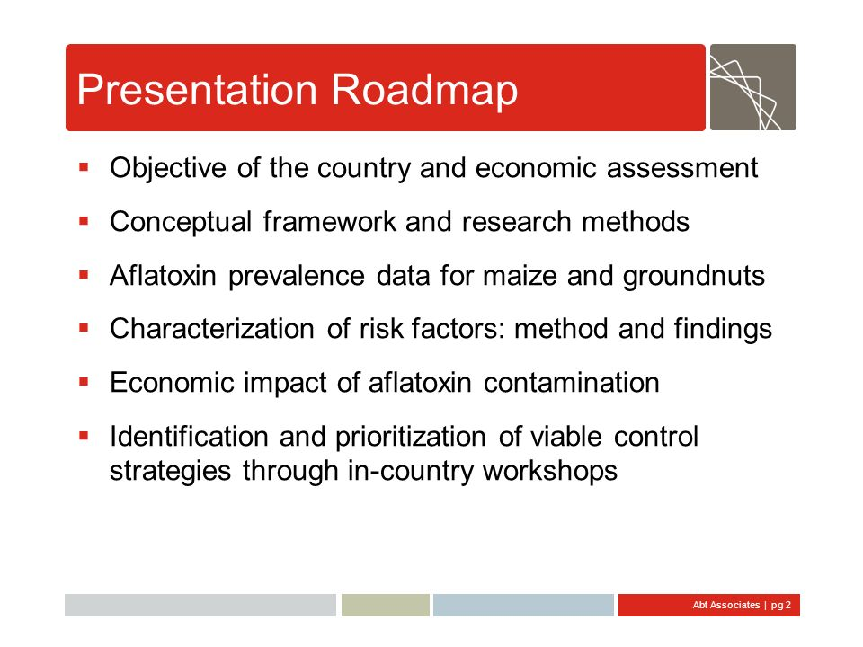 Abt Associates | pg 2 Presentation Roadmap Objective of the country and economic assessment Conceptual framework and research methods Aflatoxin preval