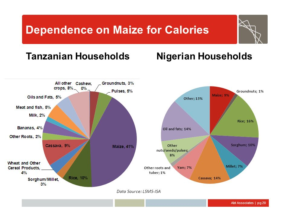 Abt Associates | pg 20 Dependence on Maize for Calories Tanzanian HouseholdsNigerian Households Data Source: LSMS-ISA