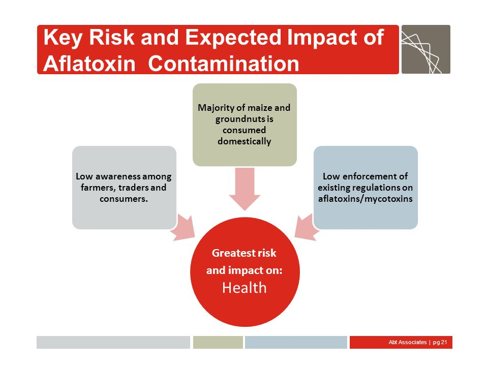 Abt Associates | pg 21 Key Risk and Expected Impact of Aflatoxin Contamination Greatest risk and impact on: Health Low awareness among farmers, trader