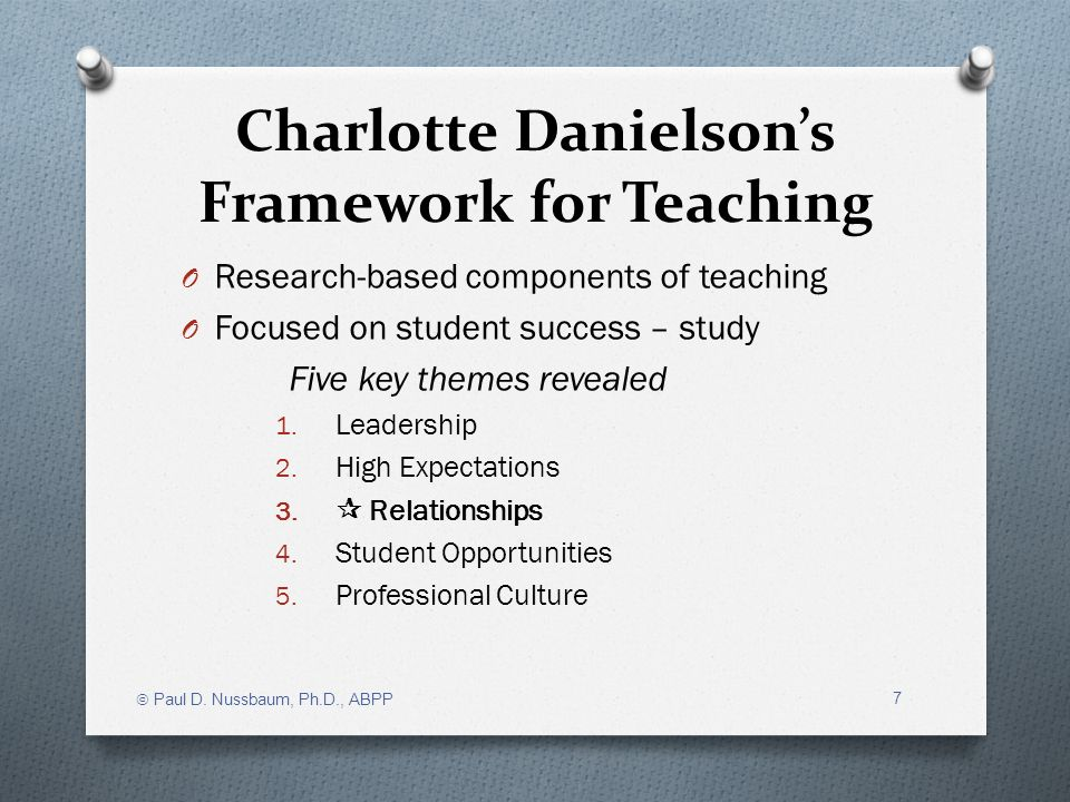 Charlotte Danielsons Framework for Teaching O Research-based components of teaching O Focused on student success – study Five key themes revealed 1. L