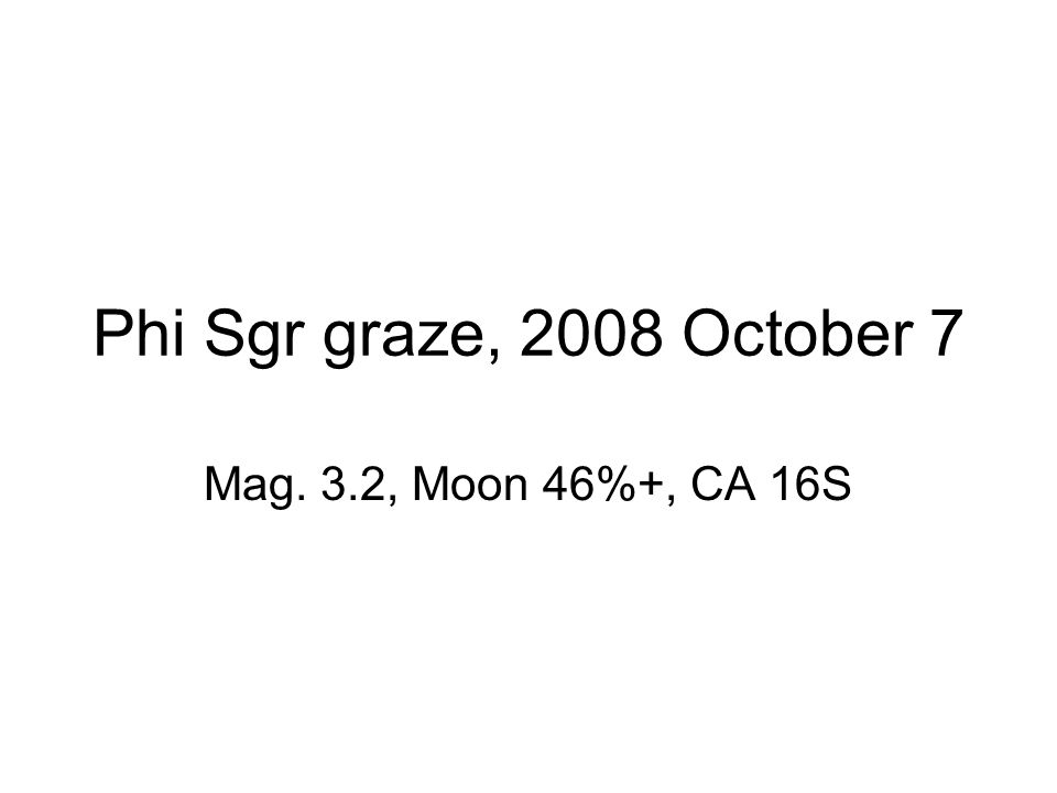 Phi Sgr graze, 2008 October 7 Mag. 3.2, Moon 46%+, CA 16S