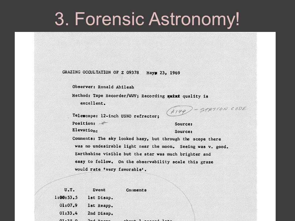 3. Forensic Astronomy!