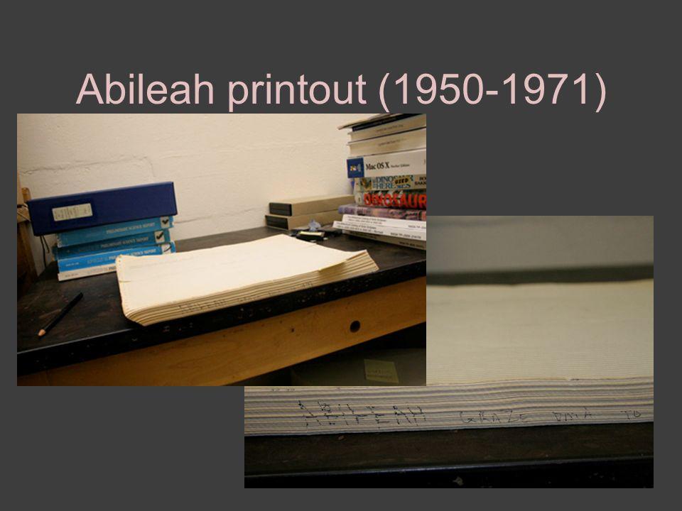Abileah printout (1950-1971)