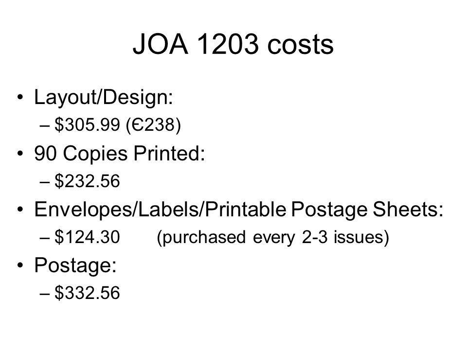JOA 1203 costs Layout/Design: –$ (Є238) 90 Copies Printed: –$ Envelopes/Labels/Printable Postage Sheets: –$124.30(purchased every 2-3 issues) Postage: –$332.56