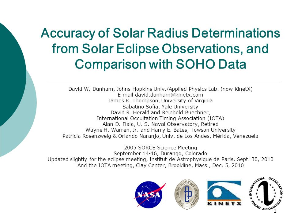 1 Accuracy of Solar Radius Determinations from Solar Eclipse Observations, and Comparison with SOHO Data David W.