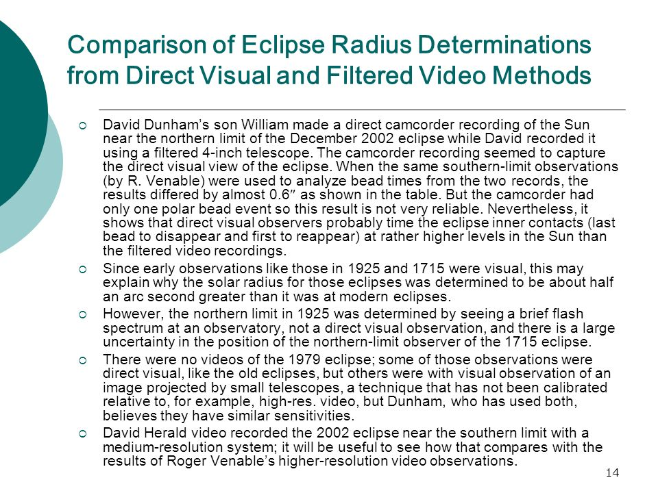 14 Comparison of Eclipse Radius Determinations from Direct Visual and Filtered Video Methods David Dunhams son William made a direct camcorder recording of the Sun near the northern limit of the December 2002 eclipse while David recorded it using a filtered 4-inch telescope.