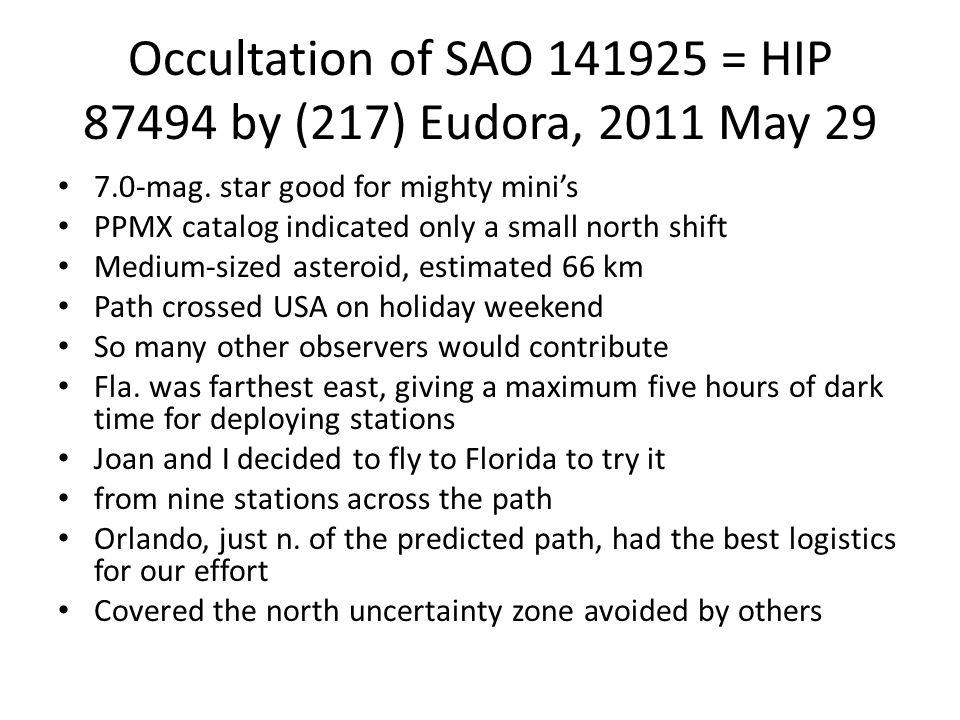 Occultation of SAO 141925 = HIP 87494 by (217) Eudora, 2011 May 29 7.0-mag.