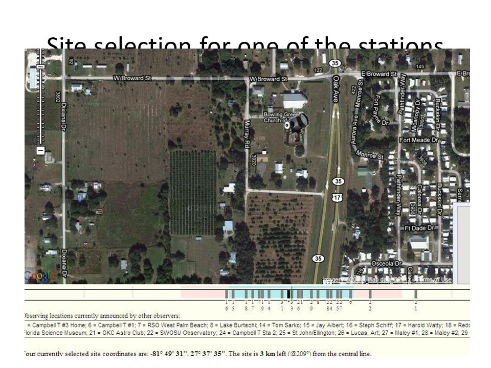 Site selection for one of the stations