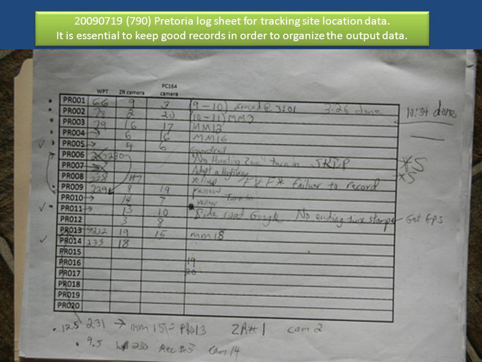 20090719 (790) Pretoria log sheet for tracking site location data.