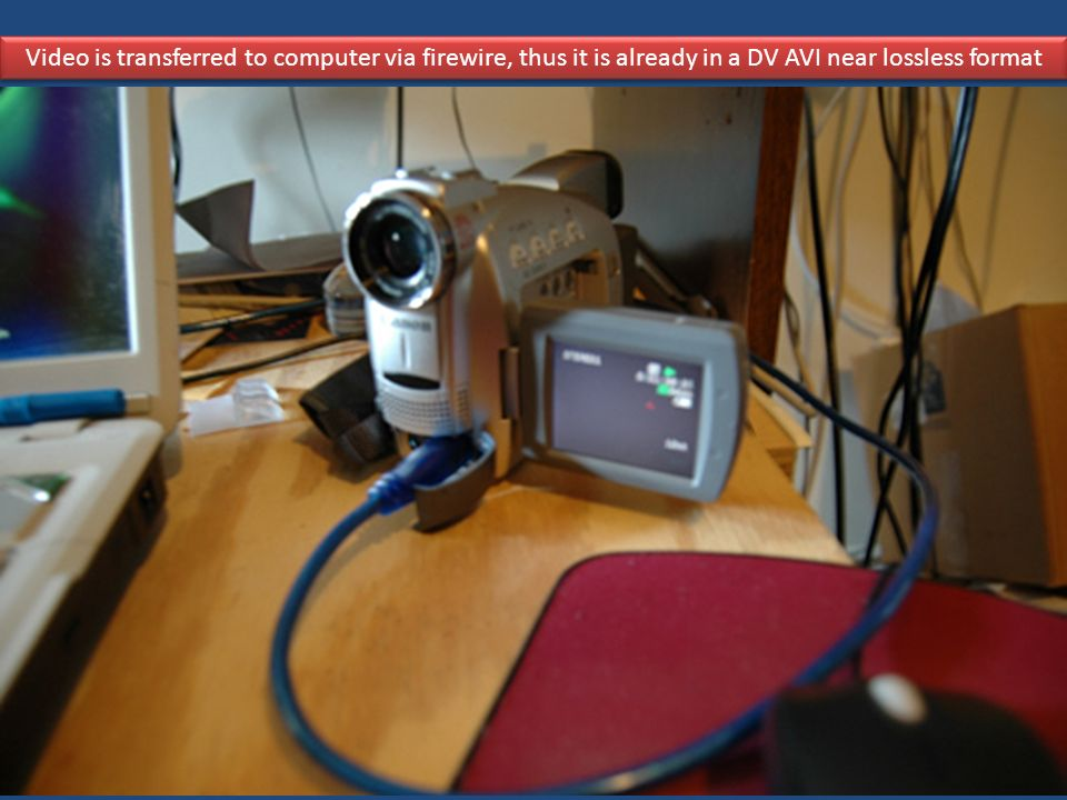 Video is transferred to computer via firewire, thus it is already in a DV AVI near lossless format
