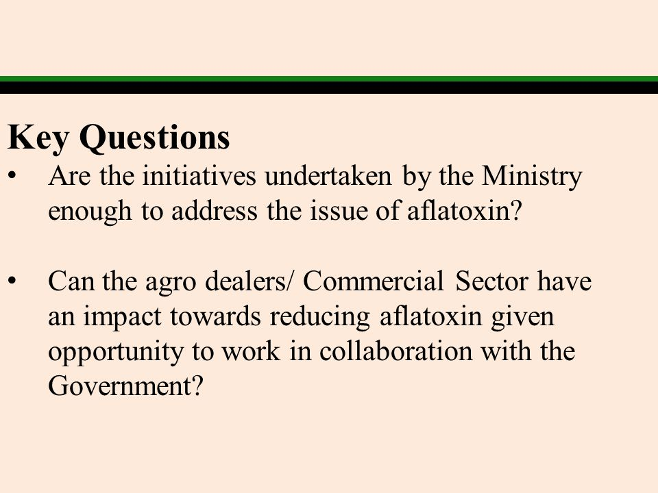 Key Questions Are the initiatives undertaken by the Ministry enough to address the issue of aflatoxin? Can the agro dealers/ Commercial Sector have an