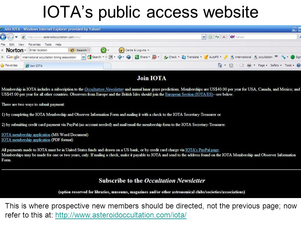 IOTAs public access website This is where prospective new members should be directed, not the previous page; now refer to this at: