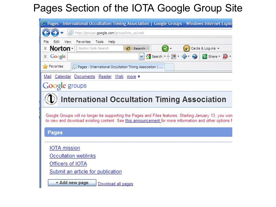 Pages Section of the IOTA Google Group Site