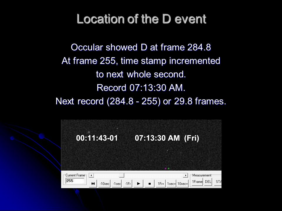 Location of the D event Occular showed D at frame 284.8 At frame 255, time stamp incremented to next whole second.