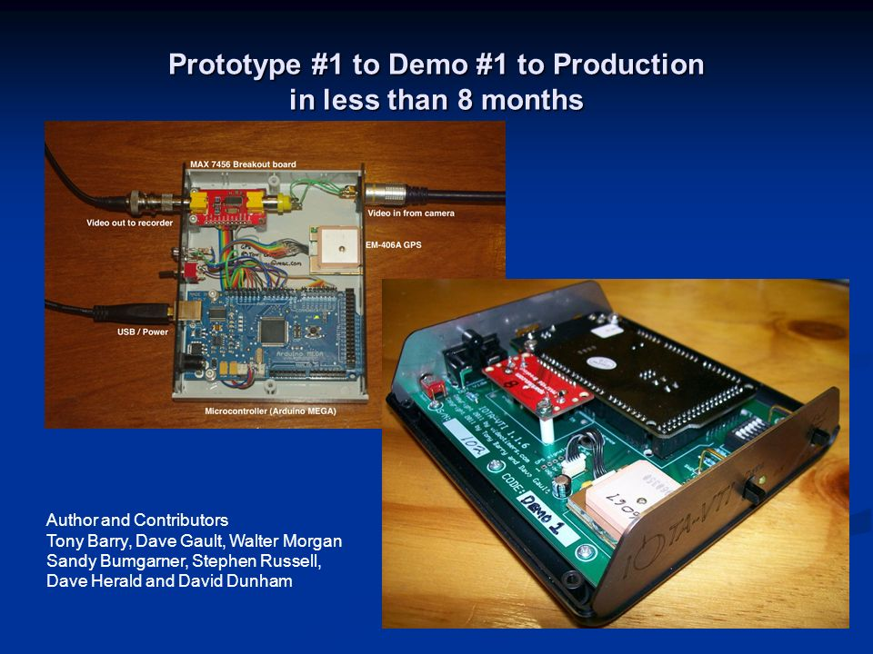 Prototype #1 to Demo #1 to Production in less than 8 months Author and Contributors Tony Barry, Dave Gault, Walter Morgan Sandy Bumgarner, Stephen Rus
