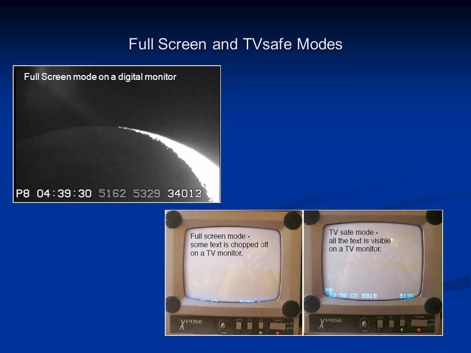 Full Screen and TVsafe Modes Full Screen mode on a digital monitor