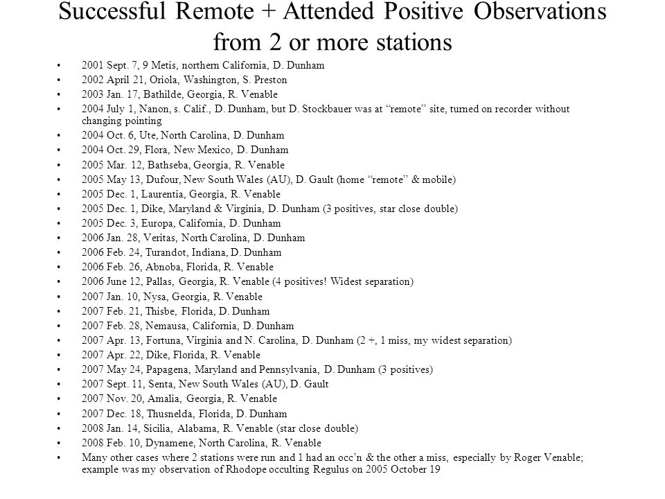Successful Remote + Attended Positive Observations from 2 or more stations 2001 Sept.
