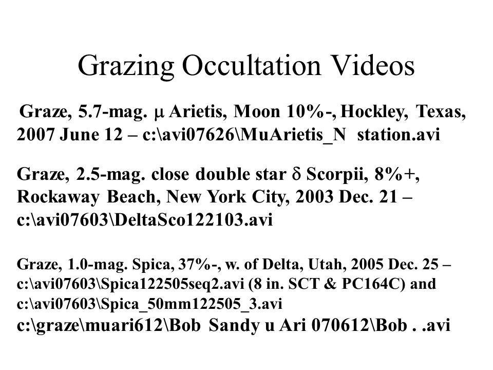 Grazing Occultation Videos Graze, 5.7-mag.