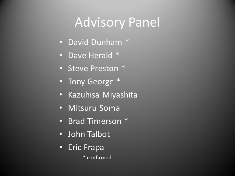 Advisory Panel David Dunham * Dave Herald * Steve Preston * Tony George * Kazuhisa Miyashita Mitsuru Soma Brad Timerson * John Talbot Eric Frapa * confirmed