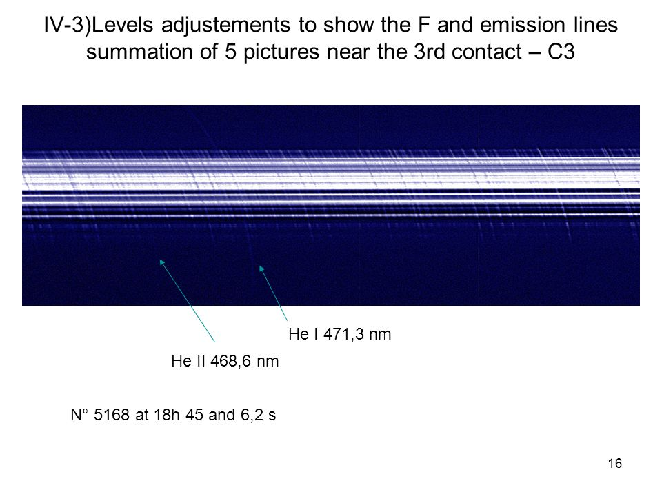 16 IV-3)Levels adjustements to show the F and emission lines summation of 5 pictures near the 3rd contact – C3 He II 468,6 nm He I 471,3 nm N° 5168 at 18h 45 and 6,2 s