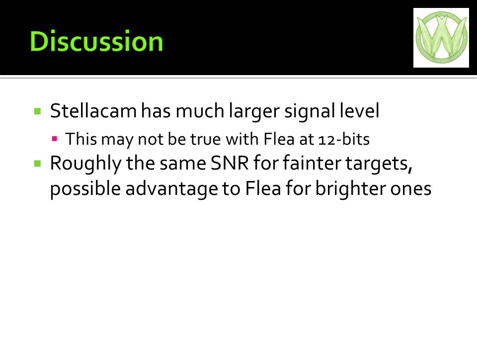 Stellacam has much larger signal level This may not be true with Flea at 12-bits Roughly the same SNR for fainter targets, possible advantage to Flea for brighter ones