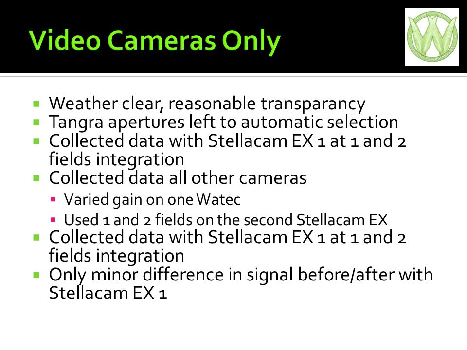 Weather clear, reasonable transparancy Tangra apertures left to automatic selection Collected data with Stellacam EX 1 at 1 and 2 fields integration Collected data all other cameras Varied gain on one Watec Used 1 and 2 fields on the second Stellacam EX Collected data with Stellacam EX 1 at 1 and 2 fields integration Only minor difference in signal before/after with Stellacam EX 1