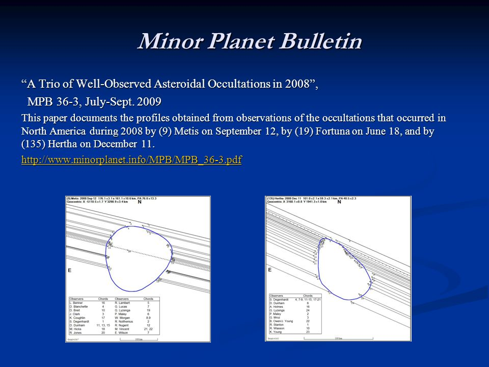 Minor Planet Bulletin A Trio of Well-Observed Asteroidal Occultations in 2008, MPB 36-3, July-Sept. 2009 MPB 36-3, July-Sept. 2009 This paper document