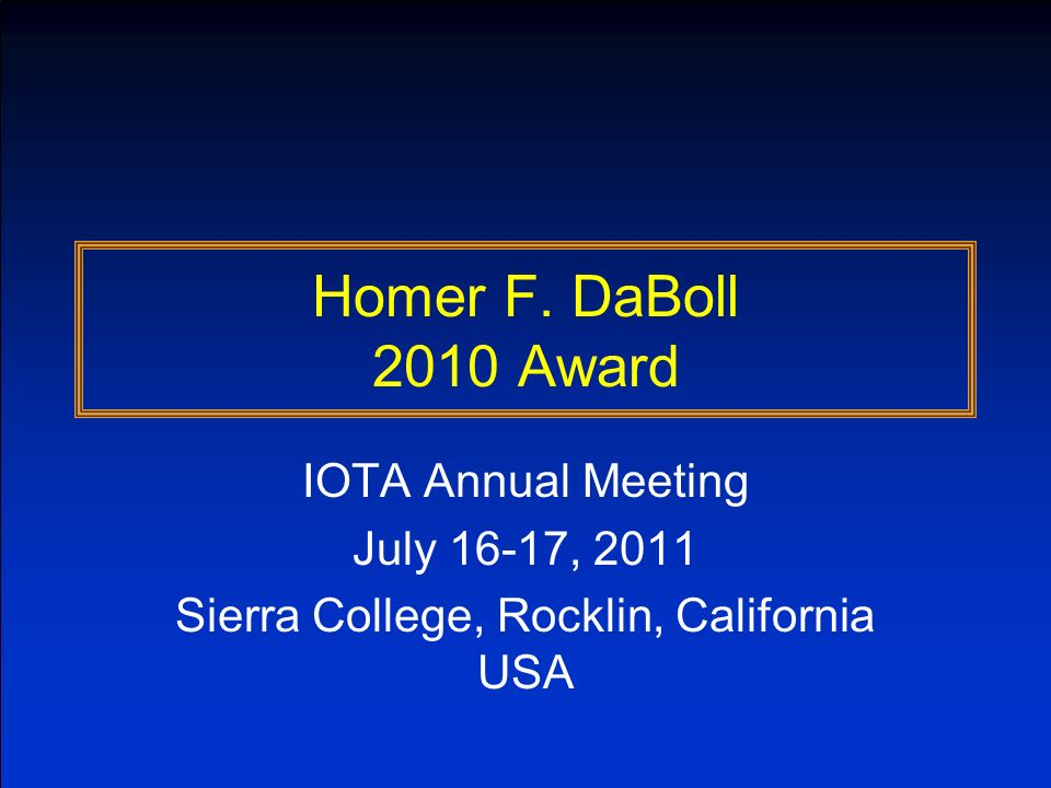 Background Concept of Award defined at the 2006 IOTA meeting (Delaware): To recognize significant contributions to occultation science and to the work of the IOTA Name honors Homer F.