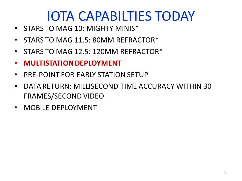 IOTA CAPABILTIES TODAY STARS TO MAG 10: MIGHTY MINIS* STARS TO MAG 11.5: 80MM REFRACTOR* STARS TO MAG 12.5: 120MM REFRACTOR* MULTISTATION DEPLOYMENT PRE-POINT FOR EARLY STATION SETUP DATA RETURN: MILLISECOND TIME ACCURACY WITHIN 30 FRAMES/SECOND VIDEO MOBILE DEPLOYMENT 14