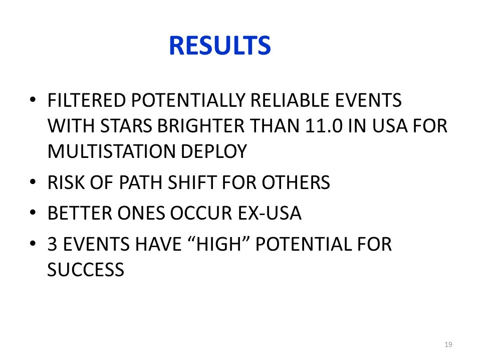 RESULTS FILTERED POTENTIALLY RELIABLE EVENTS WITH STARS BRIGHTER THAN 11.0 IN USA FOR MULTISTATION DEPLOY RISK OF PATH SHIFT FOR OTHERS BETTER ONES OCCUR EX-USA 3 EVENTS HAVE HIGH POTENTIAL FOR SUCCESS 19