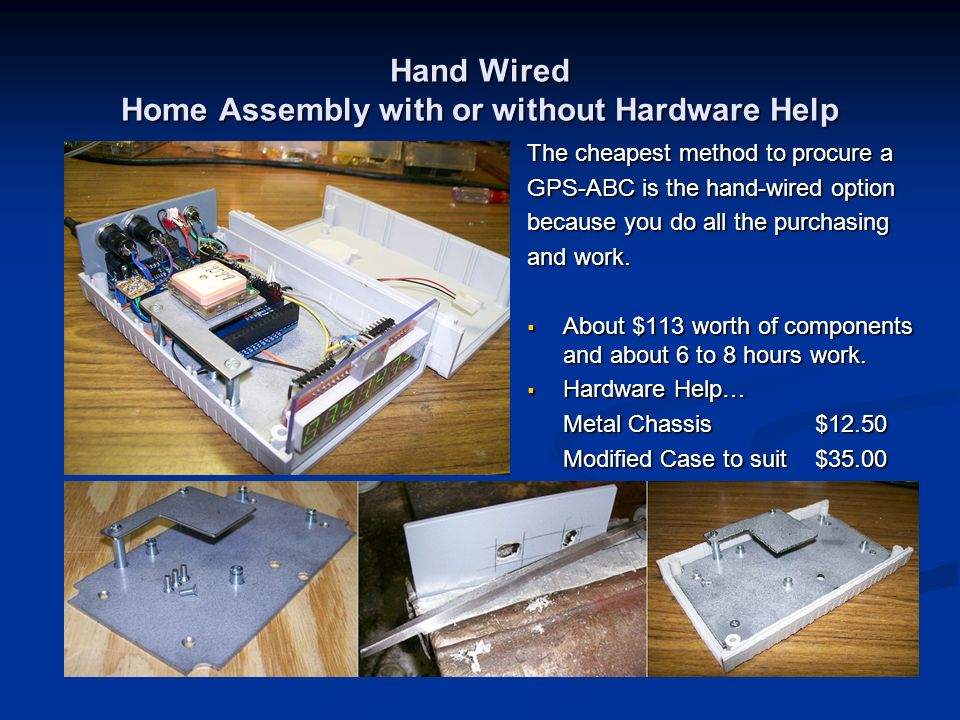 Hand Wired Home Assembly with or without Hardware Help The cheapest method to procure a GPS-ABC is the hand-wired option because you do all the purcha
