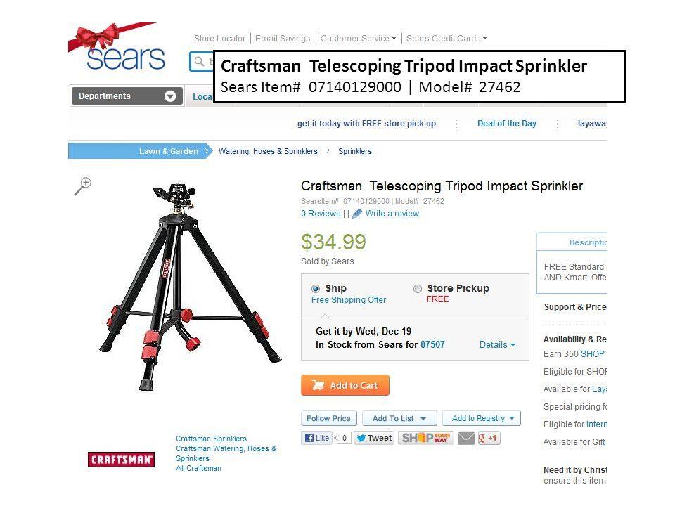 Craftsman Telescoping Tripod Impact Sprinkler Sears Item# 07140129000 | Model# 27462