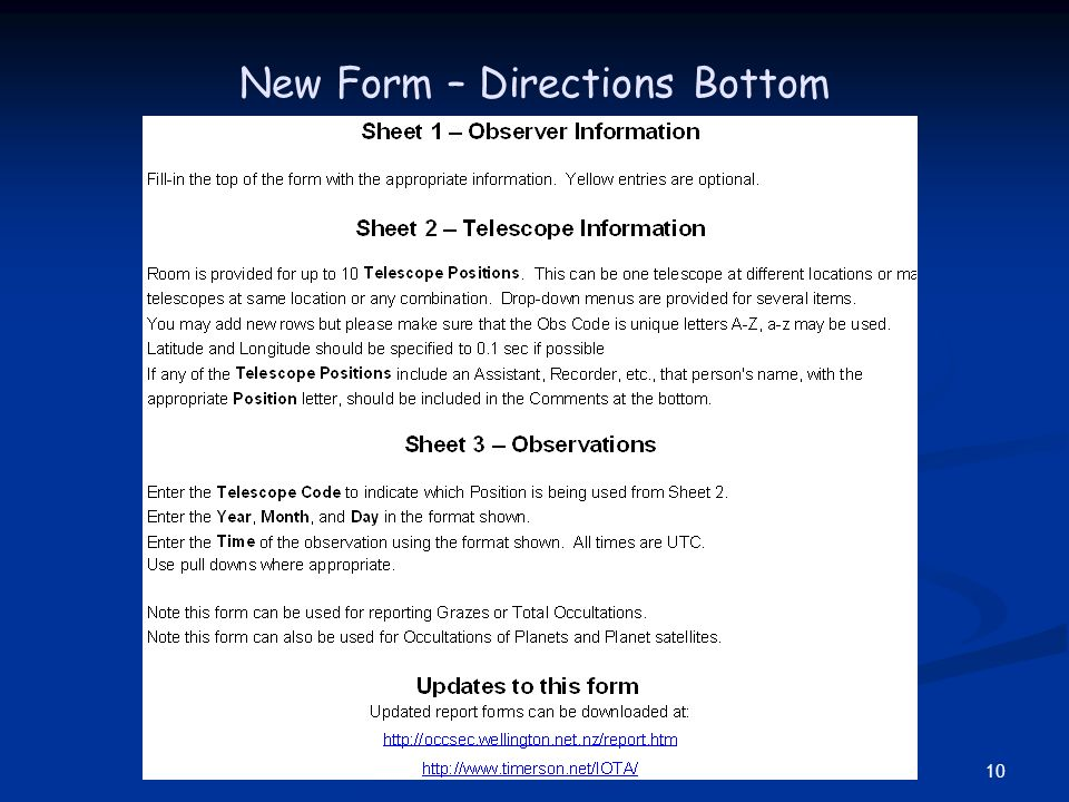 10 New Form – Directions Bottom