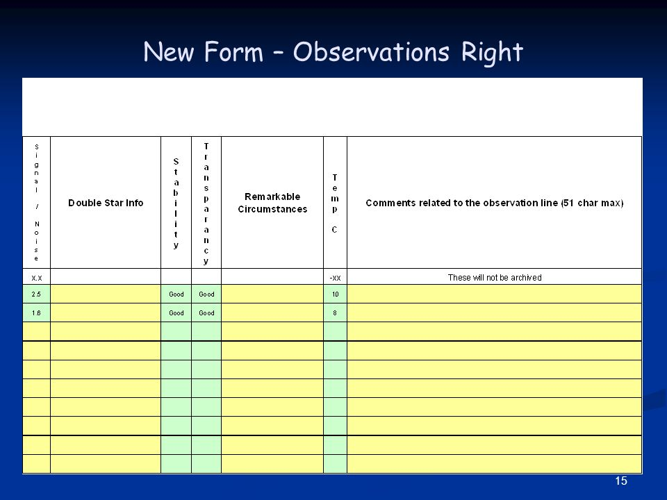 15 New Form – Observations Right