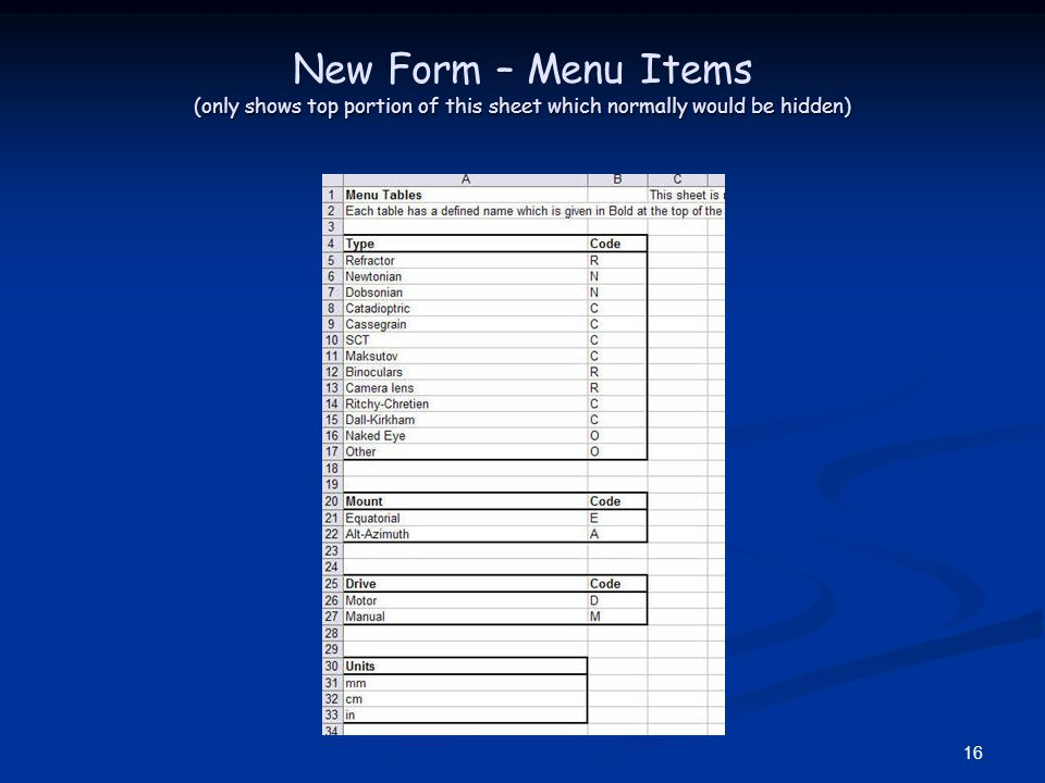 16 (only shows top portion of this sheet which normally would be hidden) New Form – Menu Items (only shows top portion of this sheet which normally wo