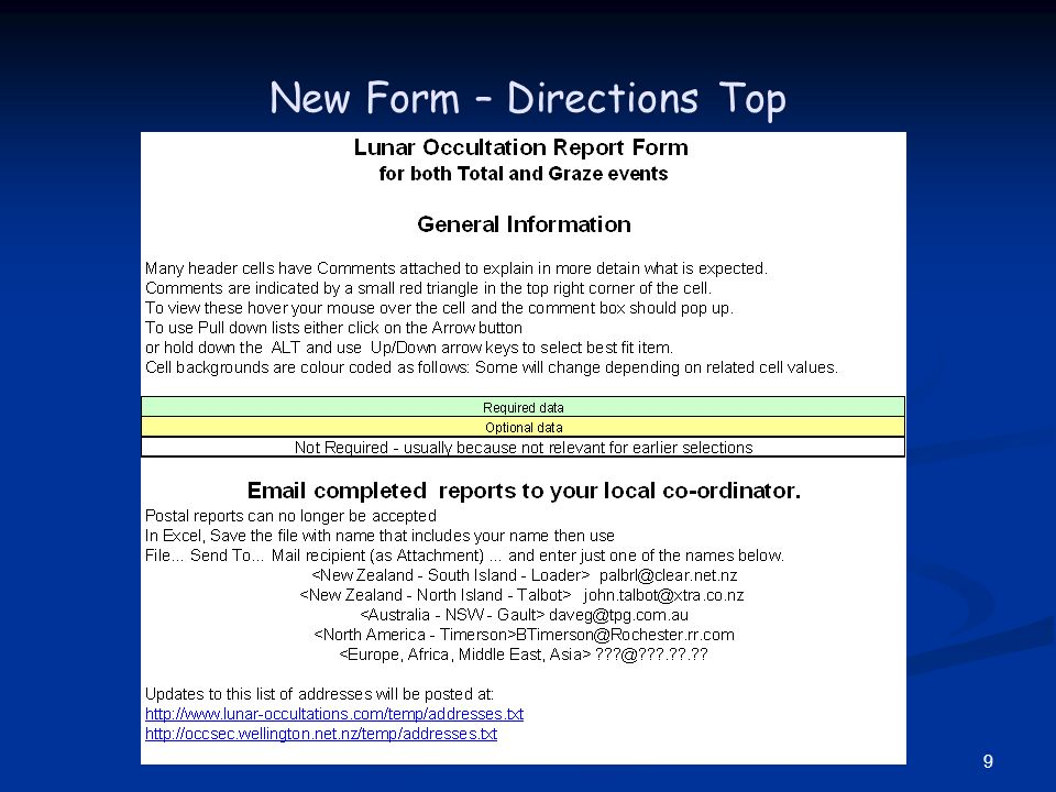 9 New Form – Directions Top