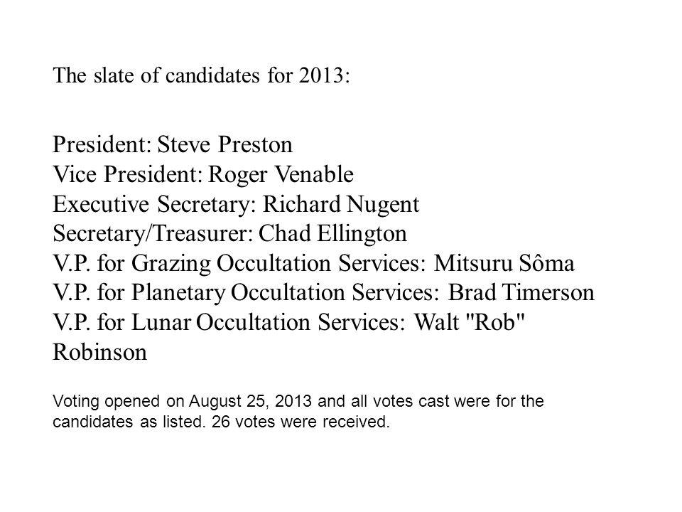 The slate of candidates for 2013: President: Steve Preston Vice President: Roger Venable Executive Secretary: Richard Nugent Secretary/Treasurer: Chad Ellington V.P.