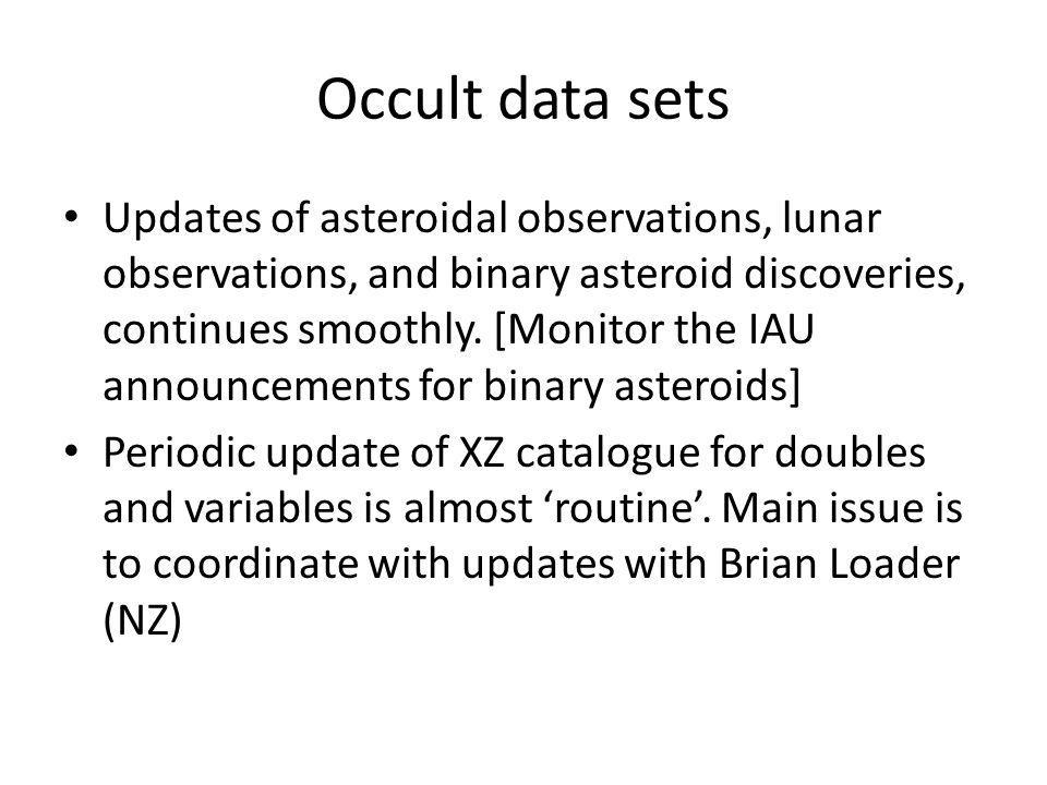 Occult data sets Updates of asteroidal observations, lunar observations, and binary asteroid discoveries, continues smoothly.