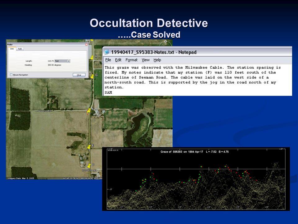 Occultation Detective …..Case Solved