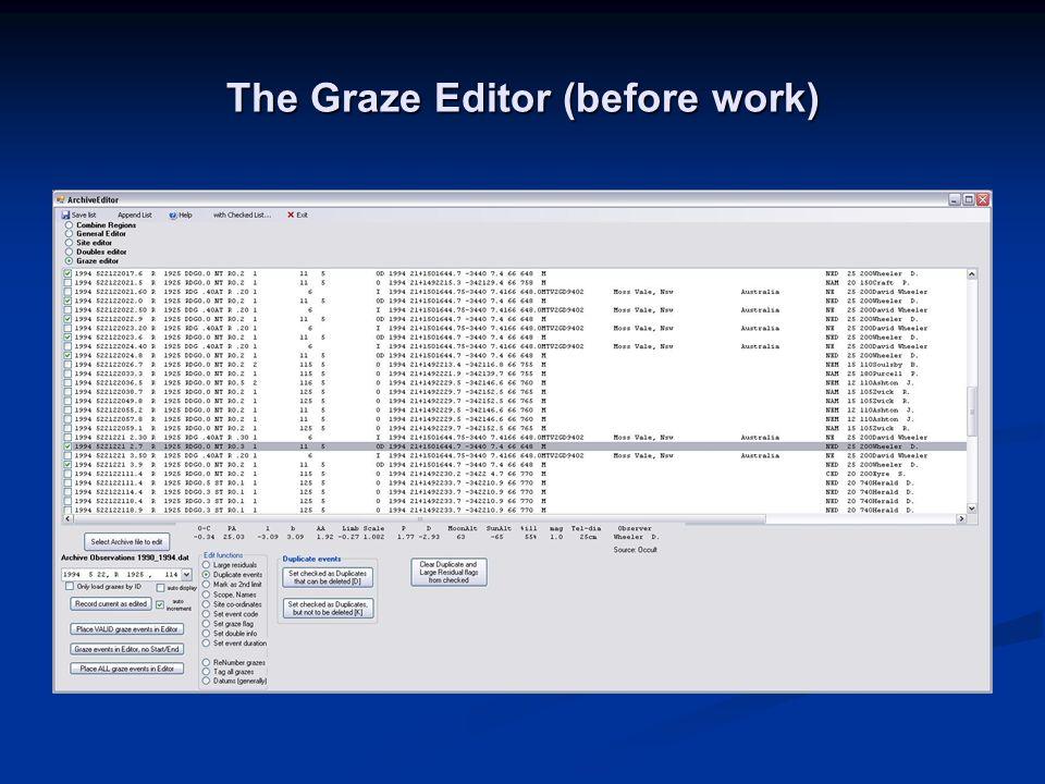 The Graze Editor (before work)