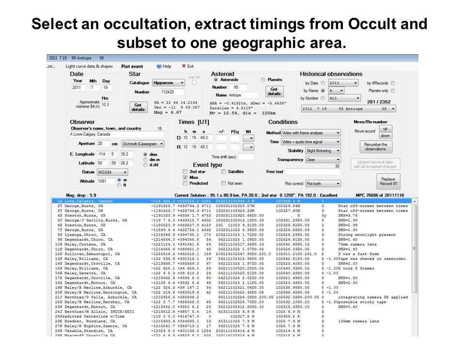 Select an occultation, extract timings from Occult and subset to one geographic area.