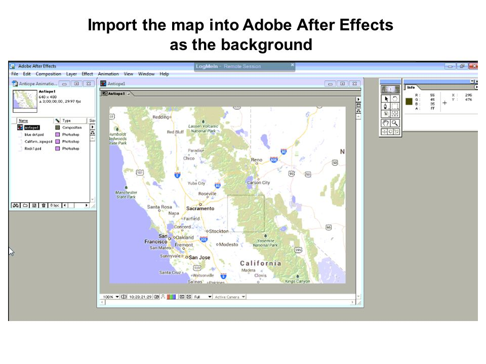 Import the map into Adobe After Effects as the background