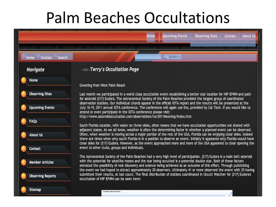 Palm Beaches Occultations