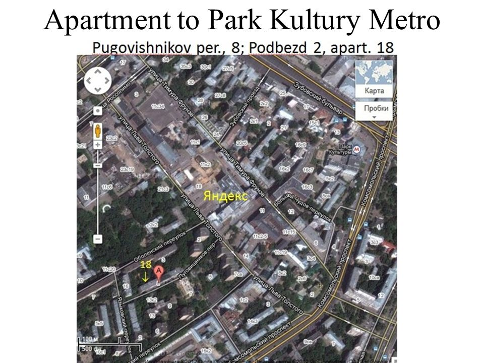 Apartment to Park Kultury Metro