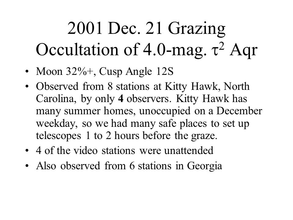 2001 Dec. 21 Grazing Occultation of 4.0-mag. 2 Aqr Moon 32%+, Cusp Angle 12S Observed from 8 stations at Kitty Hawk, North Carolina, by only 4 observe